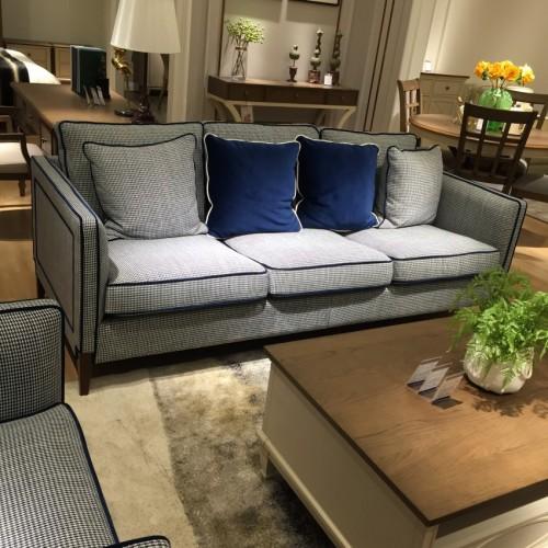 时尚美式浅色三人位沙发-简约三人位沙发LS812631