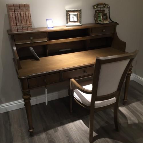 时尚美式深色书桌+书桌上架-简约书桌+书桌上架710415--710416