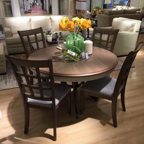 时尚美式深色圆餐桌简约圆餐桌-圆餐桌710360