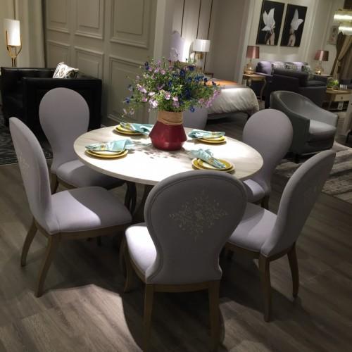 时尚美式浅色圆餐桌面简约圆餐桌面-圆餐桌面718361