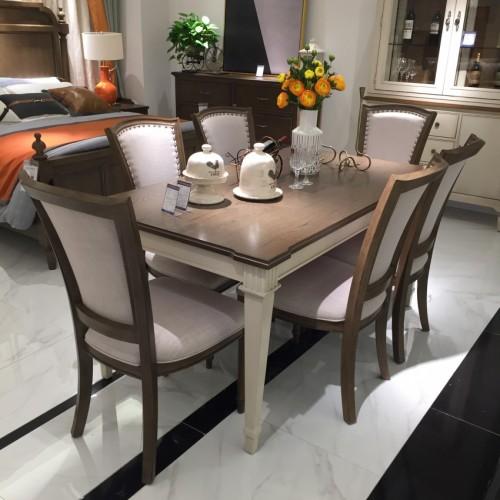 时尚美式浅色长餐桌简约长餐桌-长餐桌711365