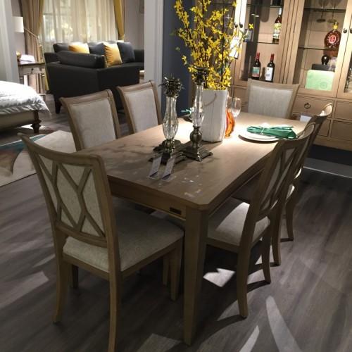 时尚美式深色长餐桌简约长餐桌-长餐桌LS717640