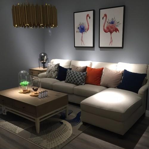 时尚美式浅色转角三位沙发简约沙发-转角三位沙发LS717640