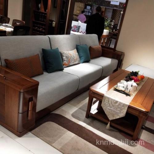 新款实木中式黄金檀木沙发厂家直销TMSF-01