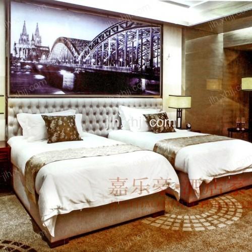 北京软包双人床 现代简约真皮酒店套房大床01