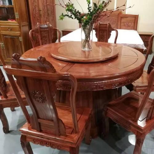 仿古圆台桌榆木雕花圆