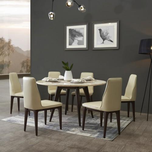 轻奢时尚理石面大圆餐桌意式极简理石面园餐台_33717