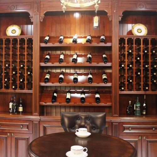 美式纯实木酒柜吧台定做欧式全实木整体酒柜酒架别墅酒窖 JJ-24