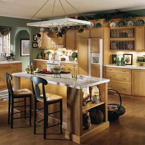 实木欧式整体橱柜定做北欧原木色厨房厨柜定制全屋 CG-03