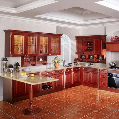 美式整体厨房橱柜定制实木橱柜普清实木橱柜 CG-14