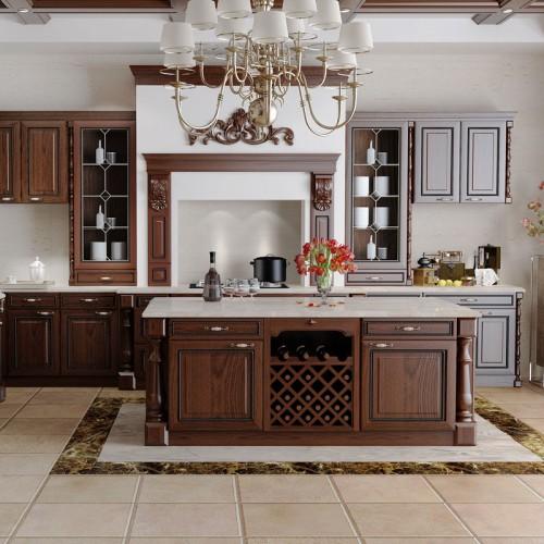全屋家居整体橱柜定制定做欧式实木开放式厨房厨柜订做CG-22