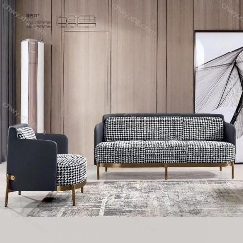 定制ins风轻奢极简金属沙发组合北欧后现代千鸟格沙发  现代77#