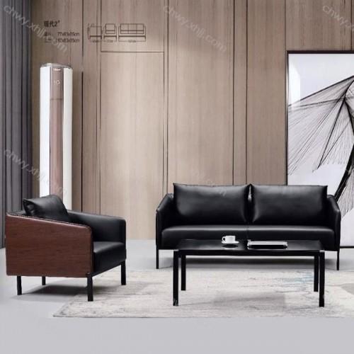 日式现代简约咖啡厅客厅卧室北欧皮艺人黑色办公沙发椅  现代2#