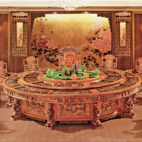 北京大型电动餐桌 酒店电动实木圆形餐桌03