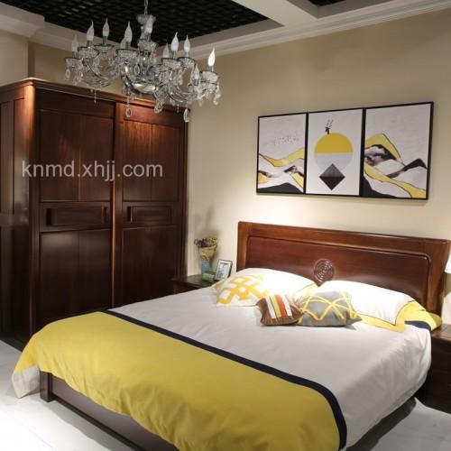 现代中式卧室实木双人床衣柜02