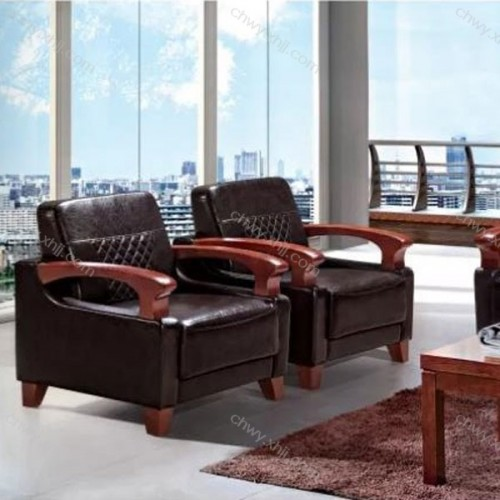 皮质办公室沙发总裁老板商务会客接待沙发 BGSF-11#