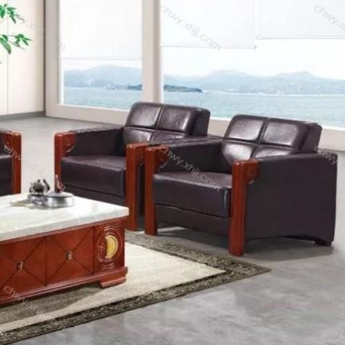 商务办公沙发中式会客接待沙发皮艺办公室沙发  BGSF-12#