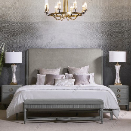 时尚轻奢灰色布艺双人床高端大气灰色双人床_MG_7714