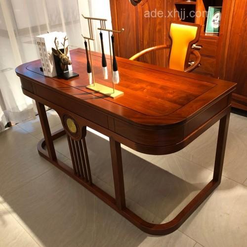 新中式禅意实木书桌书柜05