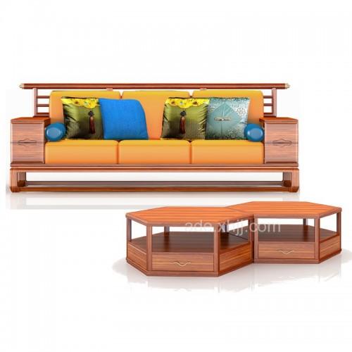 现代枪舌客厅实木沙发34