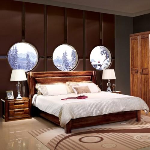 乌金木双人床 中式套房家具11