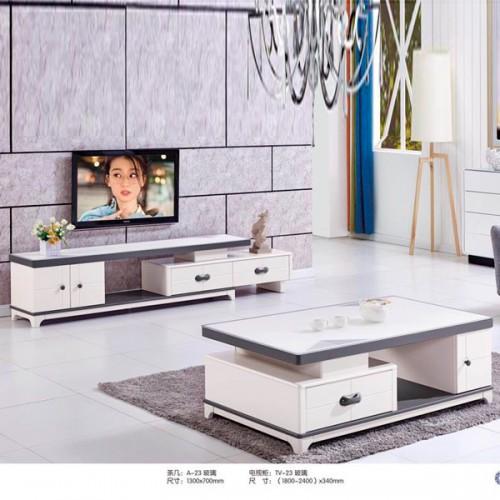 可伸缩电视柜钢化玻璃茶几 A-23