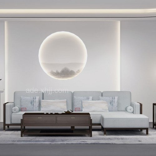 新中式转角沙发实木沙发组合34