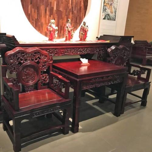 红木中式仿古灵芝椅组合太师椅01