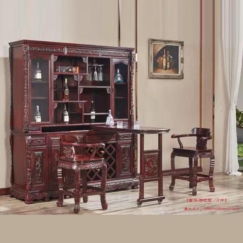 豪华红木酒吧柜 吧台桌凳定做厂家08