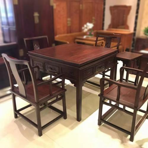 红木麻将桌餐桌椅一体家用棋牌桌价格01
