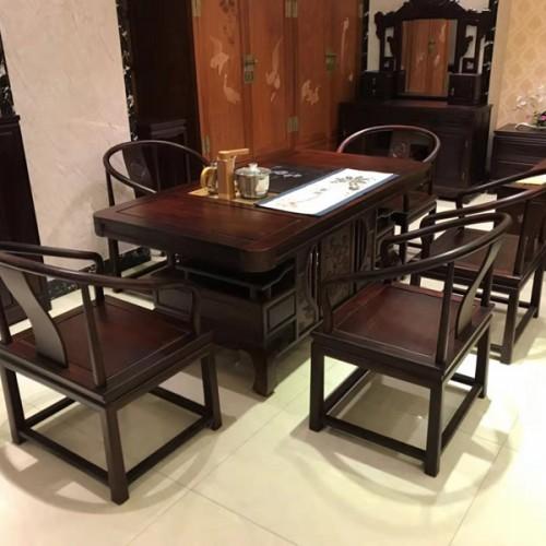 厂家供应红木茶桌椅组合将军茶台03