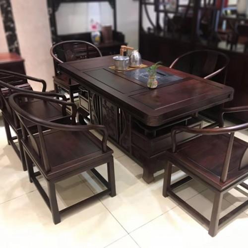 禅意新中式红木茶桌椅组合茶台04