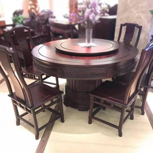 红木餐桌实木圆桌餐桌转盘厂家直销05