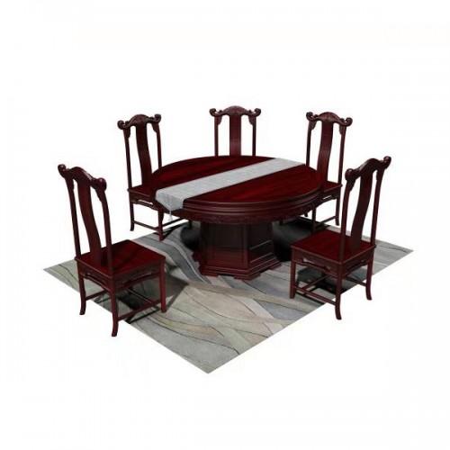 批发红木家具圆台新古典餐厅餐桌餐椅07