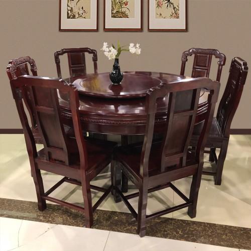 厂家定做明清仿古红木转盘餐桌椅09