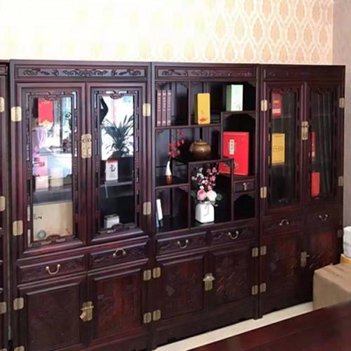红木书柜带玻璃门明清仿古实木书橱03