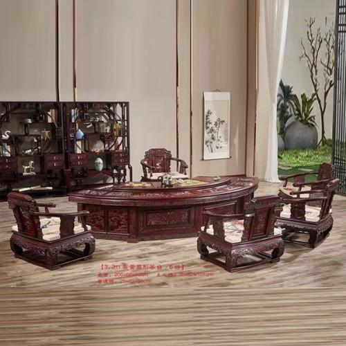 明清古典红木茶桌实木将军茶台 05