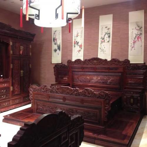 红木双人床 明清古典仿古雕刻实木床04