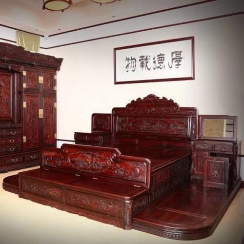 红木高箱双人床明清古典实木大床06