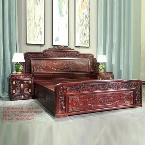 红木床1.8米明清古典主卧实木双人床采购15