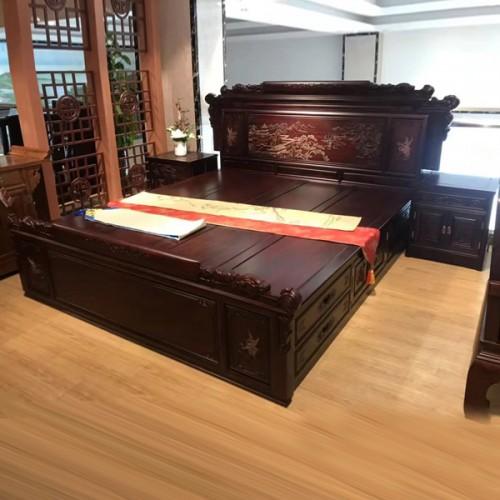 厂家直供红木双人床1.8米储物大床17