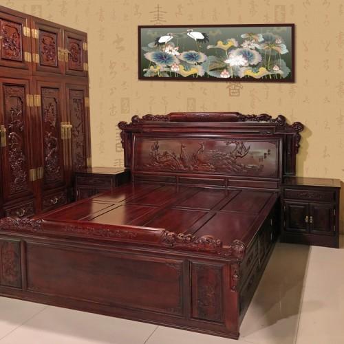 明清古典卧室喜上眉梢大床红木双人床采购价格18