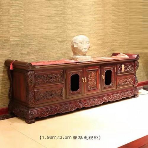 客厅定制家具 红木仿古雕刻电视柜批发 05