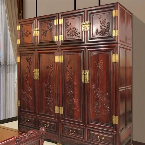 厂家定做古典雕花红木卧室衣柜 05