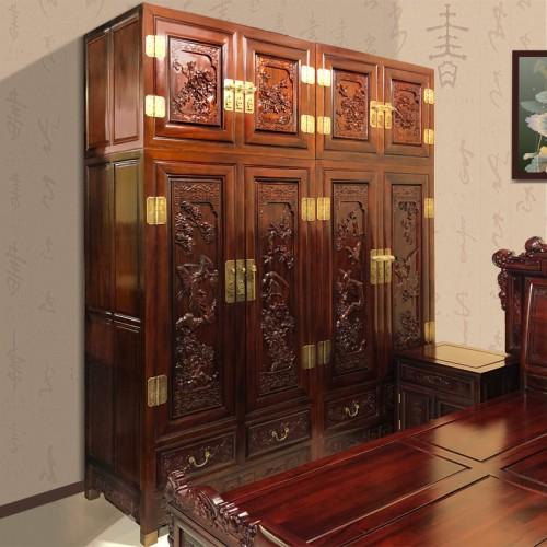 中式全实木红木家具雕花衣柜 06