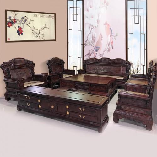 中式古典红木沙发组合实木财源滚滚宝进沙发 14