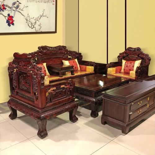 明清仿古实木雕花客厅实木沙发 15