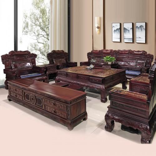 红木雕花实木客厅接待沙发  18