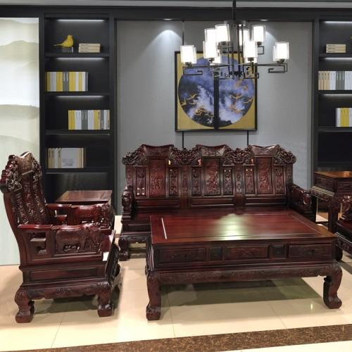 古典中式仿古实木雕花客厅会客沙发组合  19