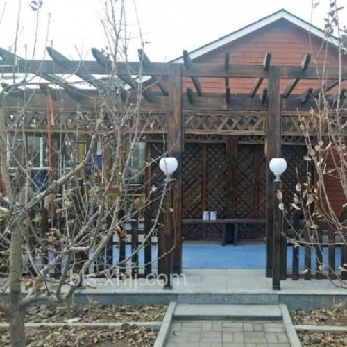 批发户外连廊方柱亭子定制室外碳化木凉亭长廊廊架实木防晒